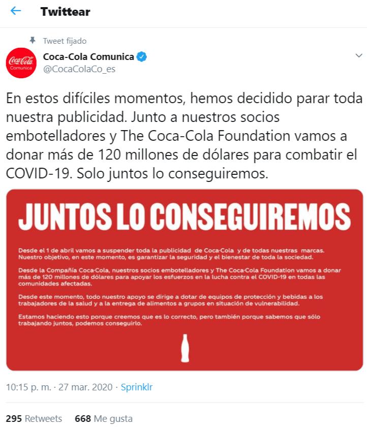 COCA COLA suspende toda la publicidad