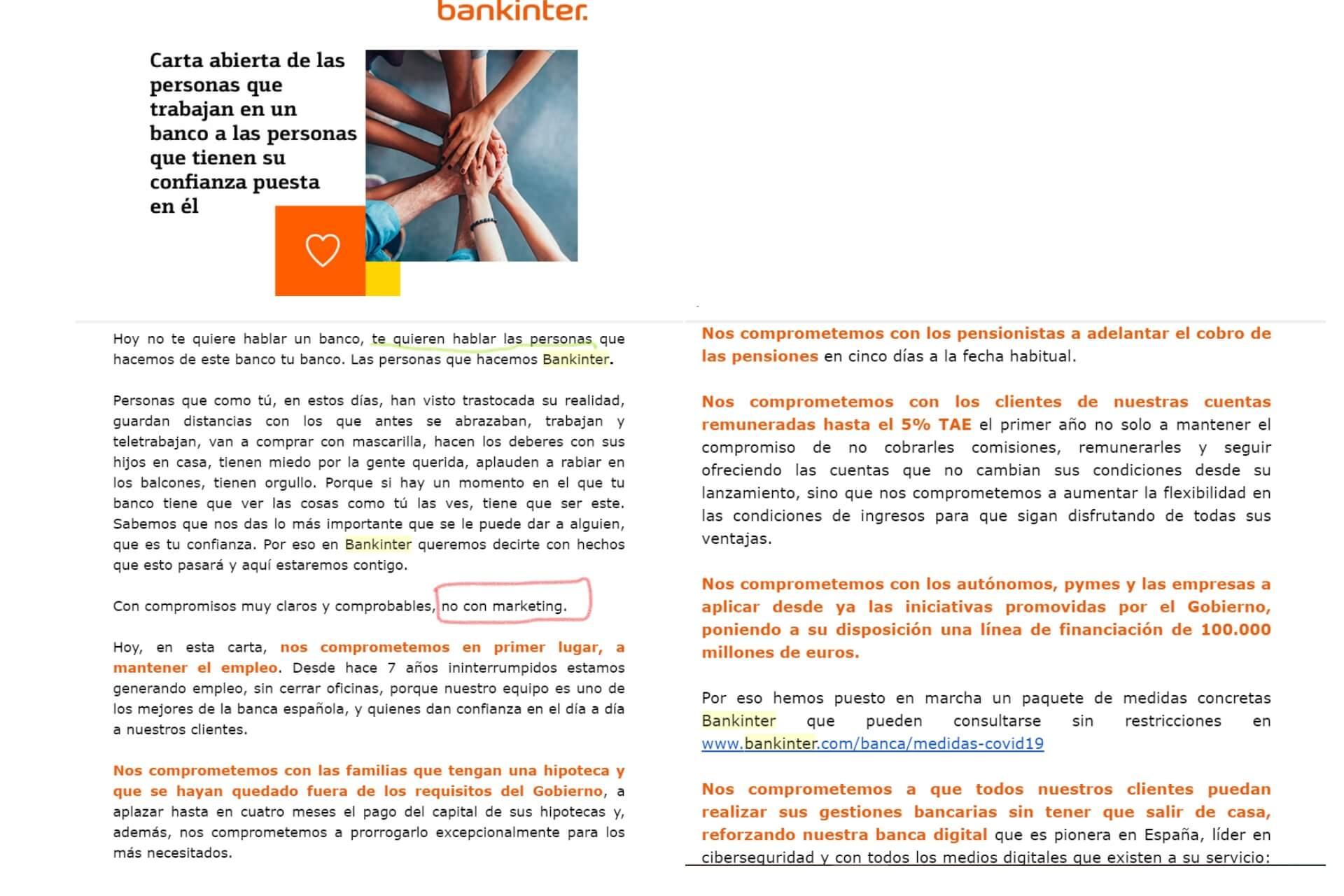 Mail de Bankinter covid-19